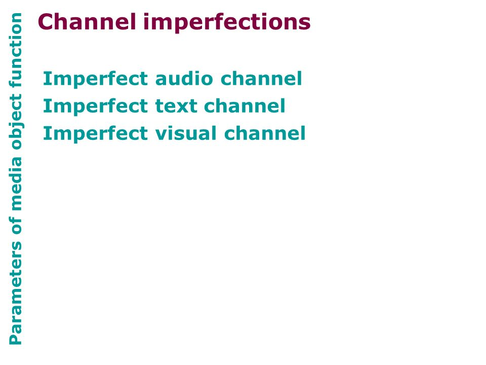 Parameters of media object function Imperfect audio channel Imperfect text channel Imperfect visual channel Channel imperfections