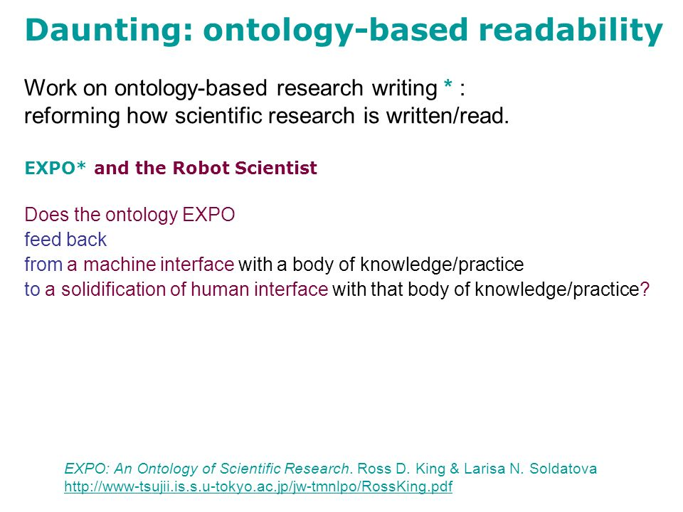 Work on ontology-based research writing * : reforming how scientific research is written/read.