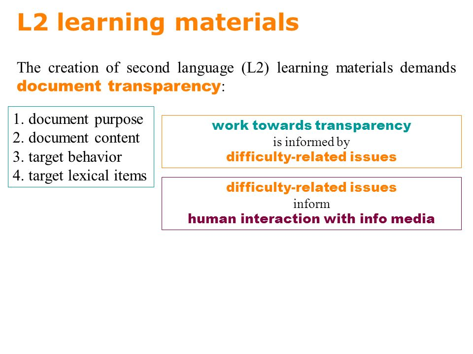 The creation of second language (L2) learning materials demands document transparency : L2 learning materials 1.
