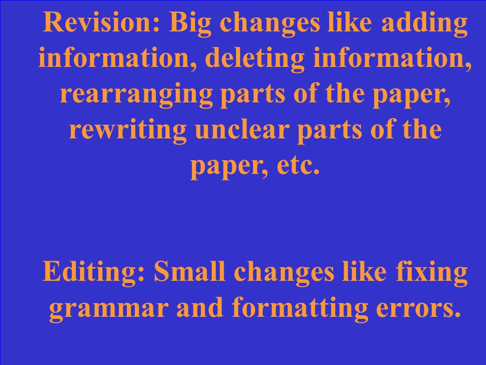 What is the difference between Revision and Editing