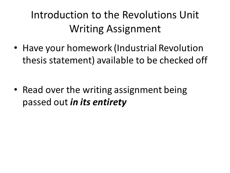 thesis statements on the industrial revolution