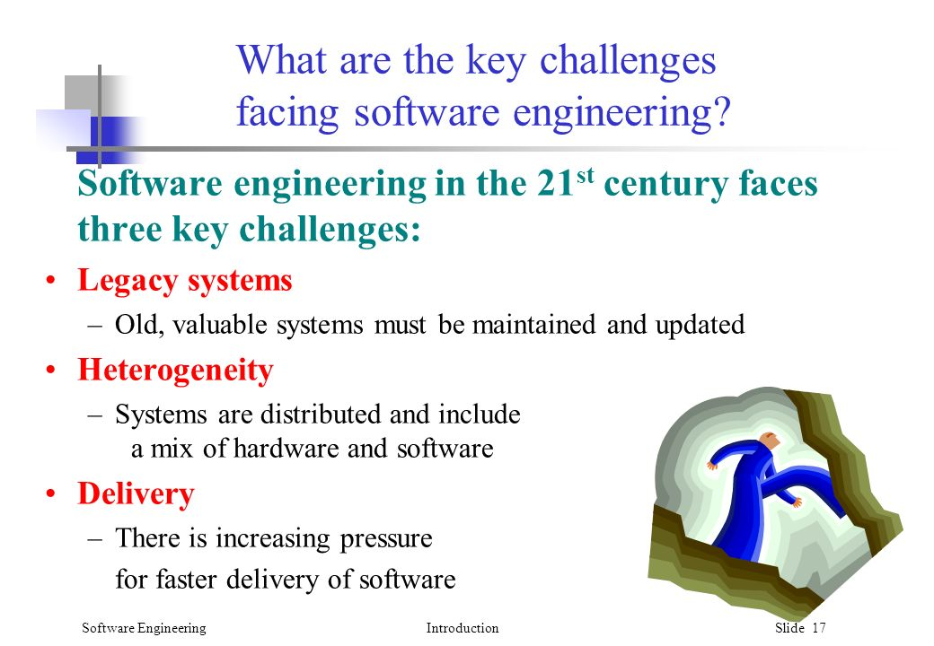 Software EngineeringIntroduction Slide 17 What are the key challenges facing software engineering.