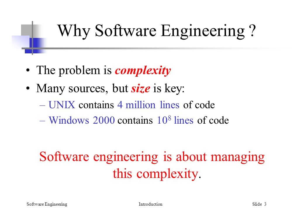 Software EngineeringIntroduction Slide 3 Why Software Engineering .