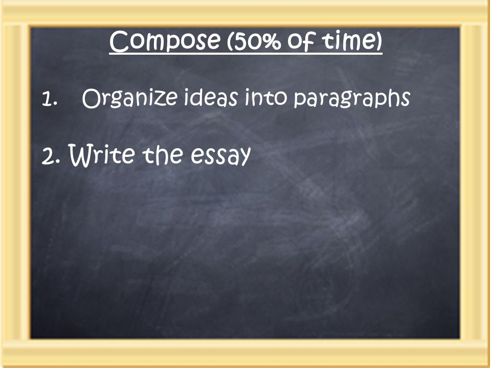 Compose (50% of time) 1.Organize ideas into paragraphs 2. Write the essay