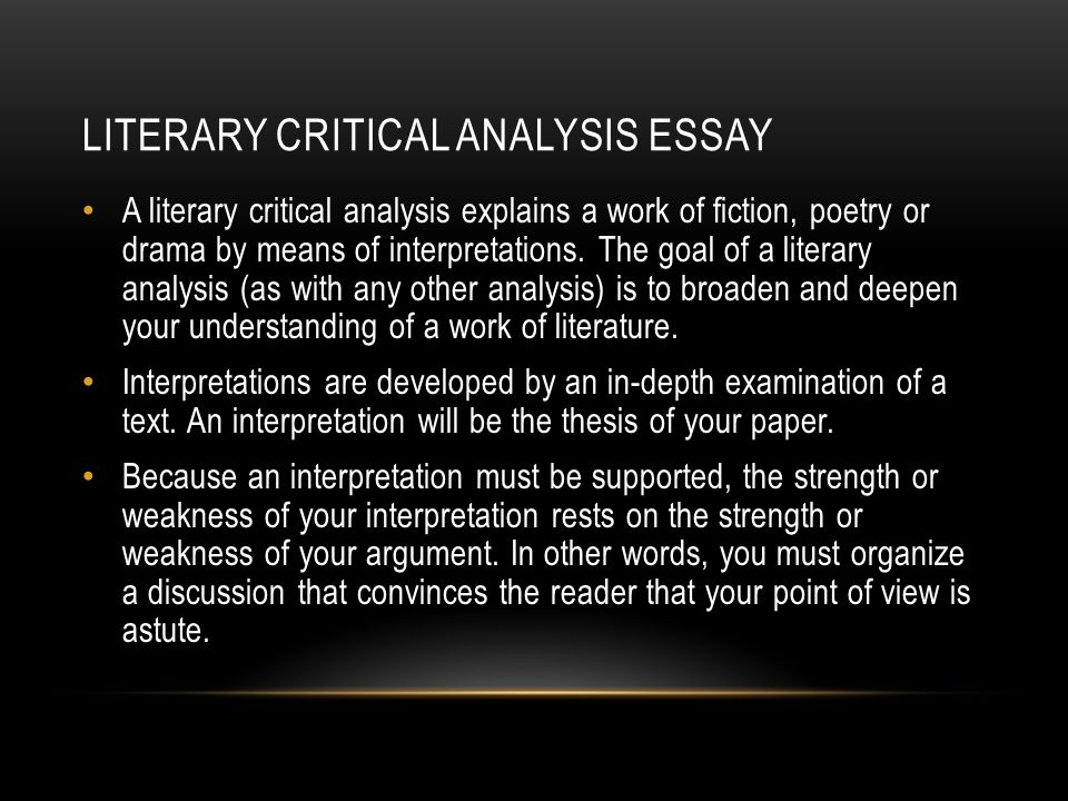 My Hobby English Essay Literary Critical Analysis Essay A Literary Critical Analysis Explains A  Work Of Fiction Poetry Or Computer Science Essay Topics also Essay Science And Religion The Road By Cormac Mccarthy Butcher Paper Essay Outlines With  English Argument Essay Topics