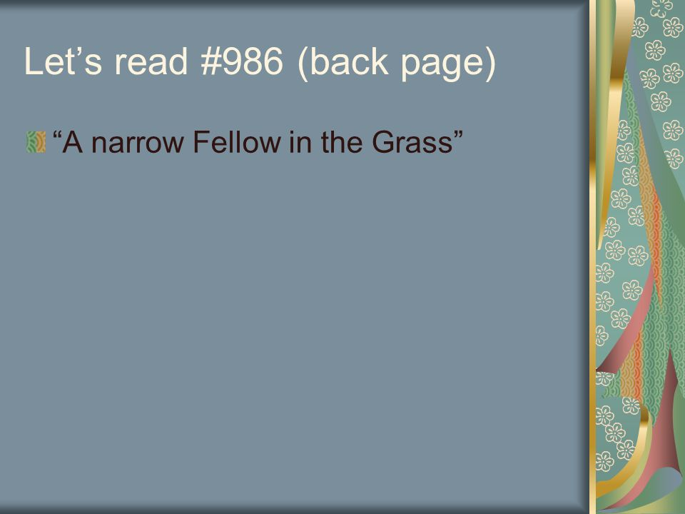 a narrow fellow in the grass poem