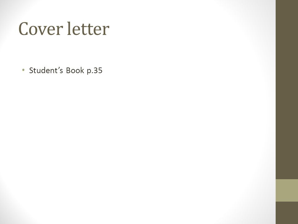 Cover letter Student's Book p.35