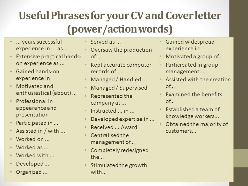 Useful Phrases for your CV and Cover letter (power/action words)...