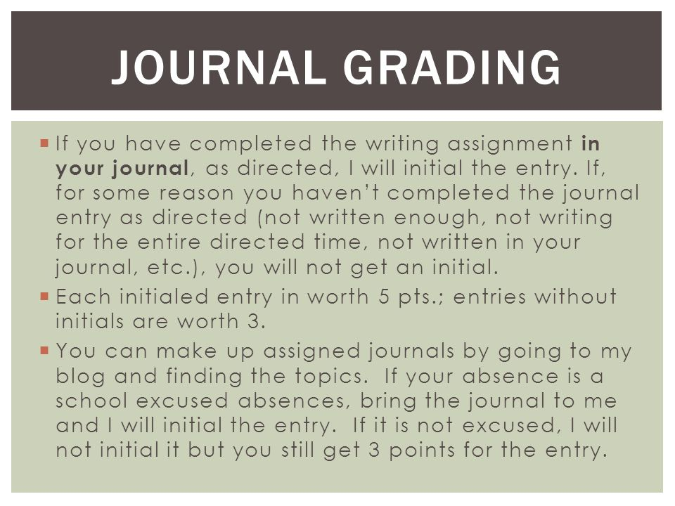  If you have completed the writing assignment in your journal, as directed, I will initial the entry.
