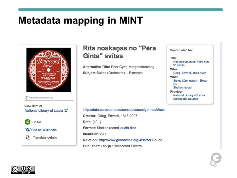 Metadata mapping in MINT