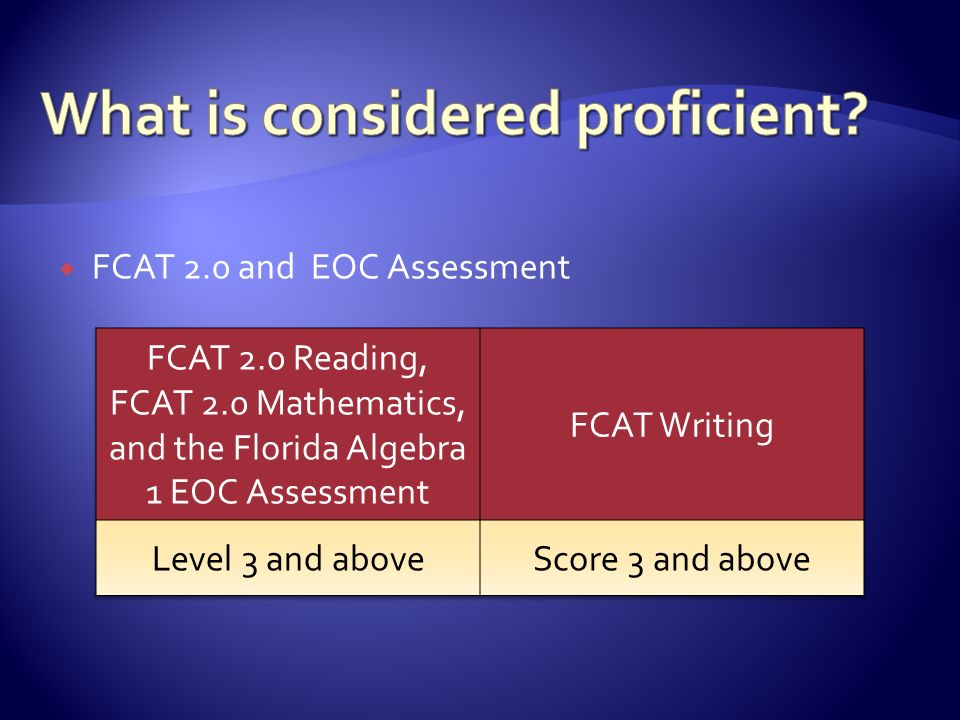  FCAT 2.0 and EOC Assessment
