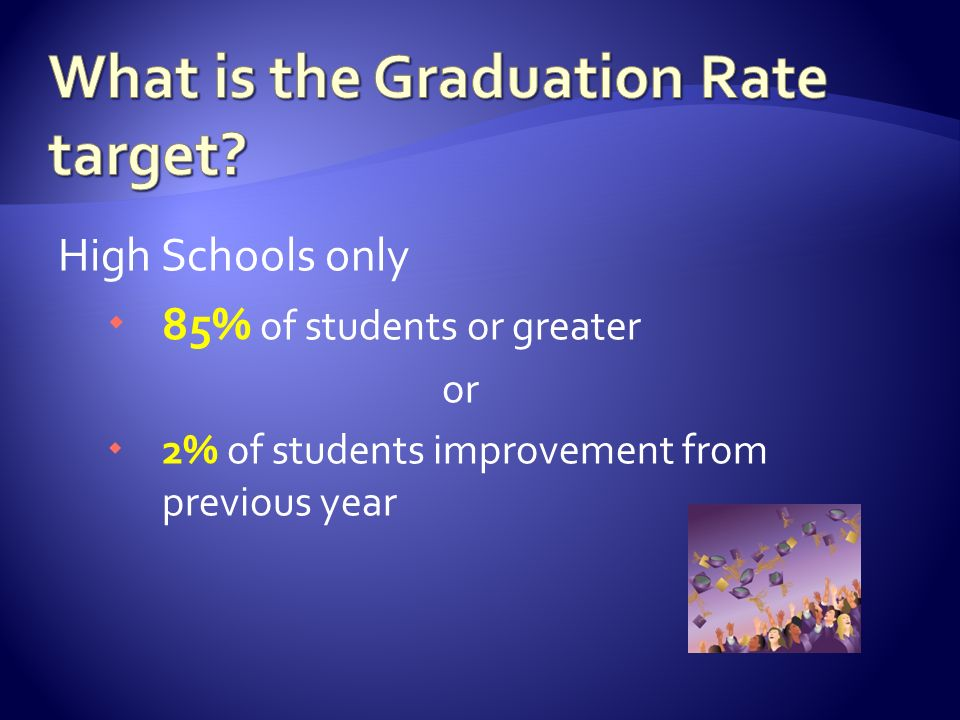 High Schools only  85% of students or greater or  2% of students improvement from previous year