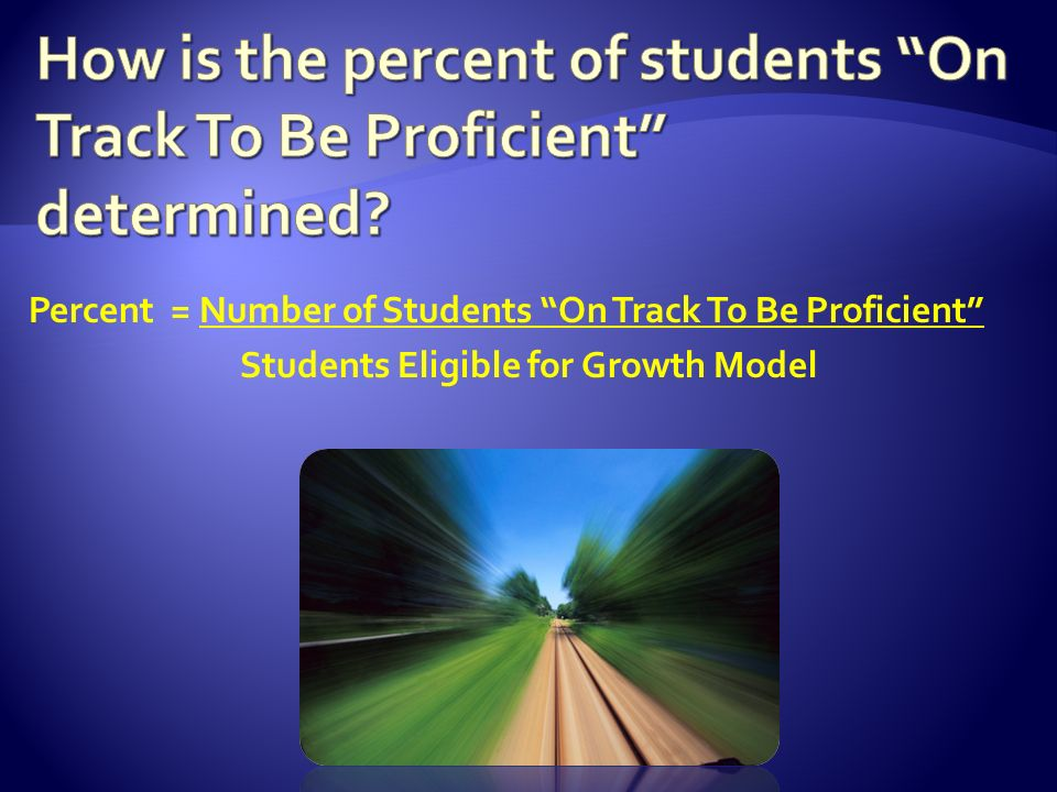 Percent = Number of Students On Track To Be Proficient Students Eligible for Growth Model