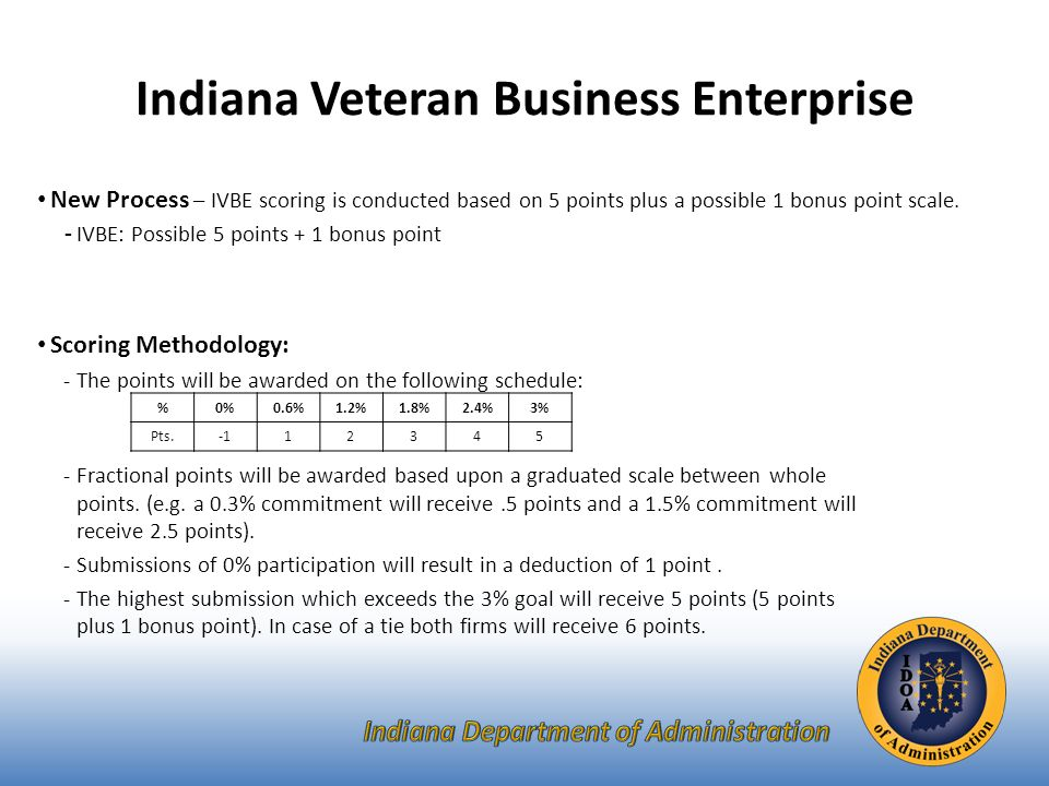 Indiana Veteran Business Enterprise New Process – IVBE scoring is conducted based on 5 points plus a possible 1 bonus point scale.