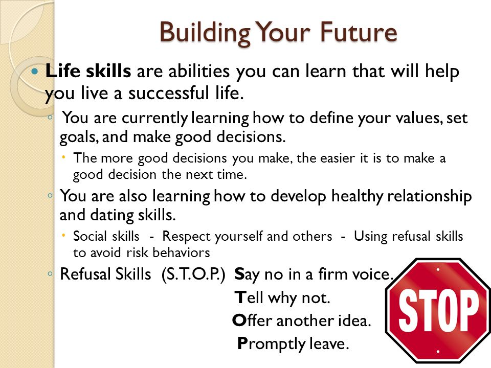 Building Your Future Life skills are abilities you can learn that will help you live a successful life.