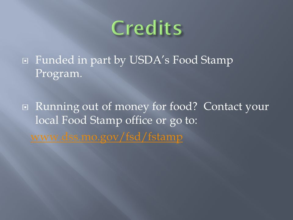 Funded In Part By USDAs Food Stamp Program Running Out Of Money For