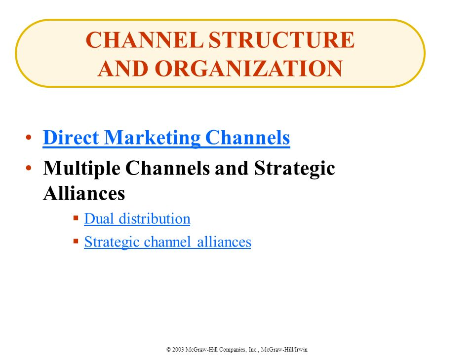 © 2003 McGraw-Hill Companies, Inc., McGraw-Hill/Irwin Direct Marketing Channels Multiple Channels and Strategic Alliances  Dual distribution Dual distribution  Strategic channel alliances Strategic channel alliances CHANNEL STRUCTURE AND ORGANIZATION