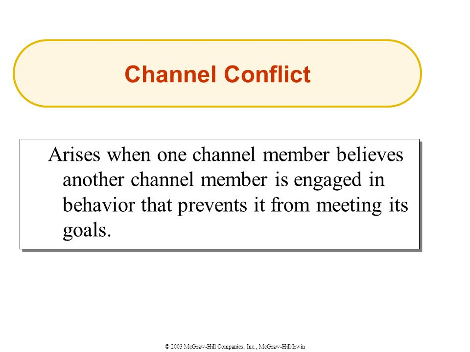 © 2003 McGraw-Hill Companies, Inc., McGraw-Hill/Irwin Arises when one channel member believes another channel member is engaged in behavior that prevents it from meeting its goals.