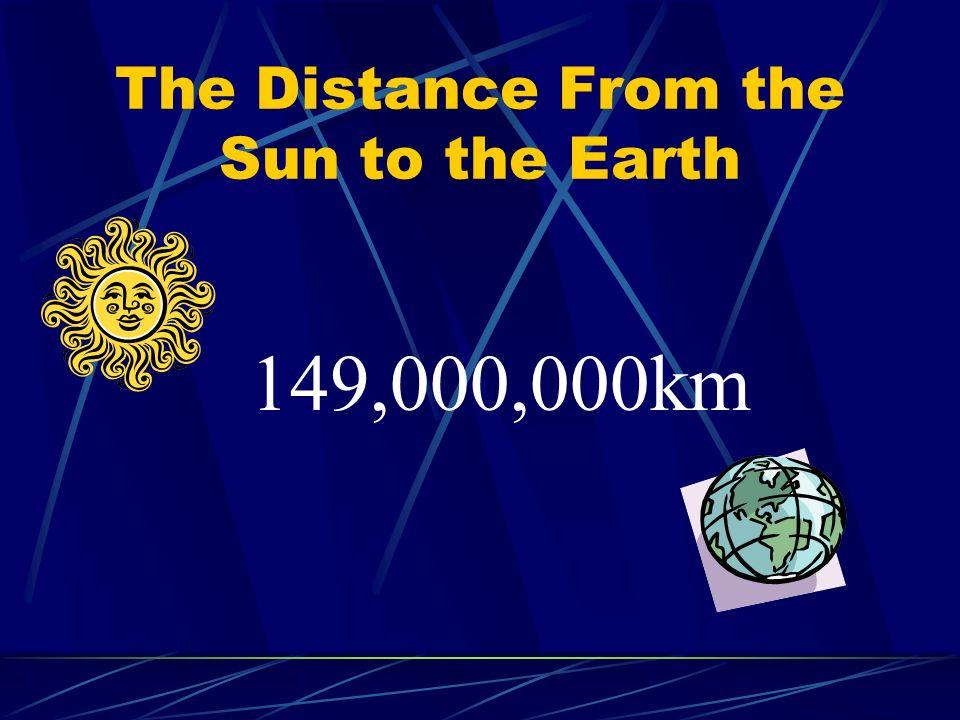The Distance From the Sun to the Earth 149,000,000km
