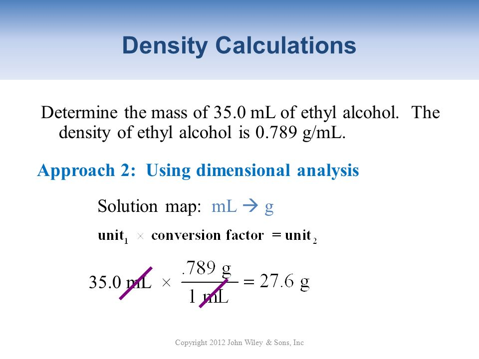 the density of ethyl alcohol