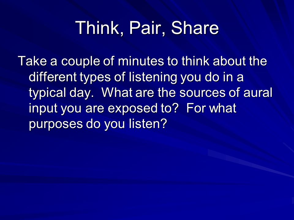 Think, Pair, Share Take a couple of minutes to think about the different types of listening you do in a typical day.