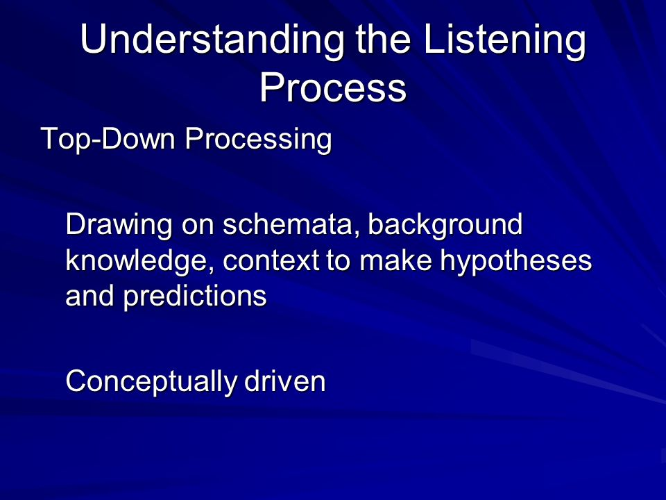 Understanding the Listening Process Top-Down Processing Drawing on schemata, background knowledge, context to make hypotheses and predictions Conceptually driven