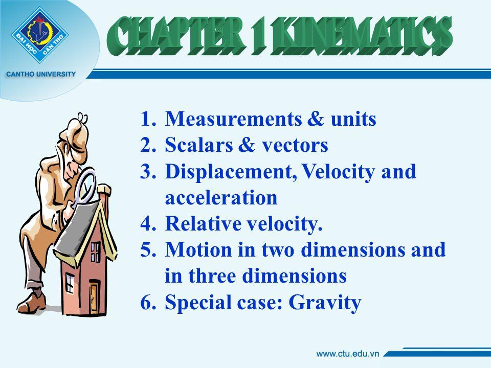 1 Measurements Units 2 Scalars Vectors 3 Displacement Velocity