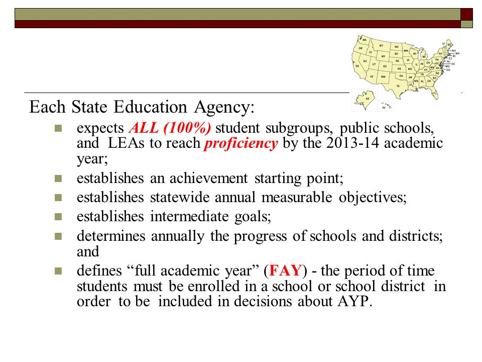 Each State Education Agency: expects ALL (100%) student subgroups, public schools, and LEAs to reach proficiency by the academic year; establishes an achievement starting point; establishes statewide annual measurable objectives; establishes intermediate goals; determines annually the progress of schools and districts; and defines full academic year (FAY) - the period of time students must be enrolled in a school or school district in order to be included in decisions about AYP.