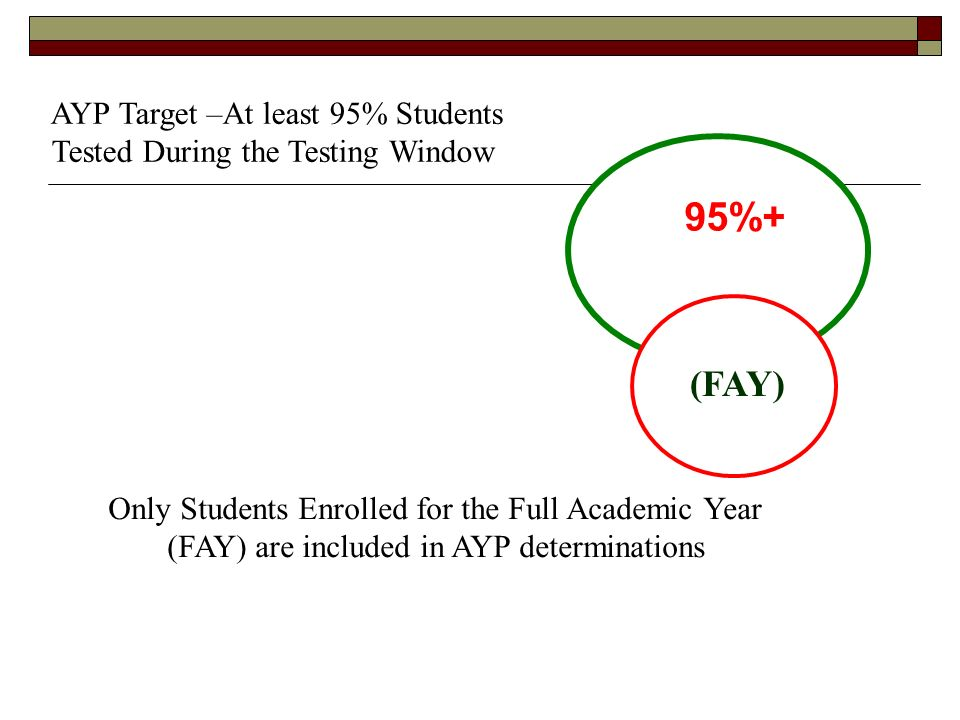 95%+ AYP Target –At least 95% Students Tested During the Testing Window Only Students Enrolled for the Full Academic Year (FAY) are included in AYP determinations (FAY)