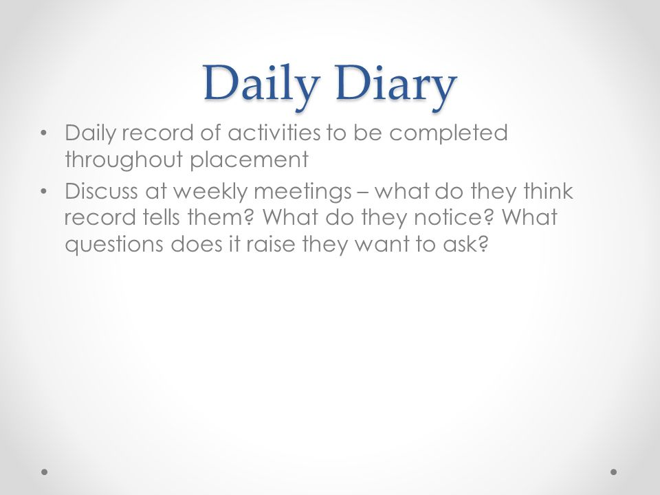 Daily Diary Daily record of activities to be completed throughout placement Discuss at weekly meetings – what do they think record tells them.