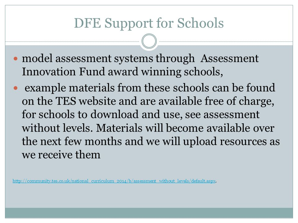 DFE Support for Schools model assessment systems through Assessment Innovation Fund award winning schools, example materials from these schools can be found on the TES website and are available free of charge, for schools to download and use, see assessment without levels.