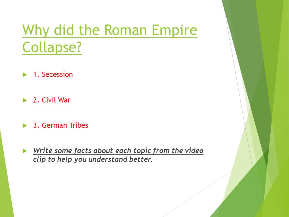 Why did the Roman Empire Collapse.  1. Secession  2.