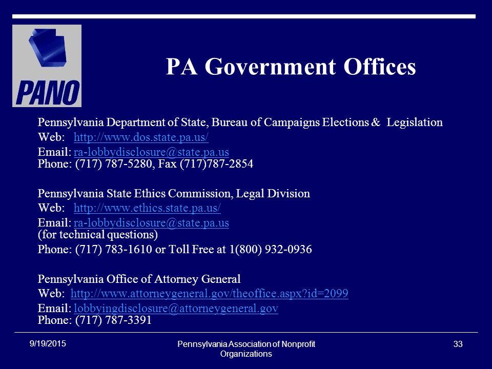 Pennsylvania Association of Nonprofit Organizations 1 The