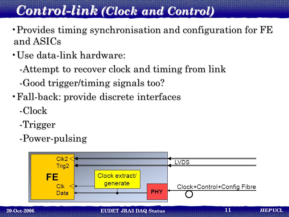 HEP UCL 20-Oct-2006EUDET JRA3 DAQ Status 11 Control-link (Clock and Control) Provides timing synchronisation and configuration for FE and ASICsProvides timing synchronisation and configuration for FE and ASICs Use data-link hardware:Use data-link hardware: -Attempt to recover clock and timing from link -Good trigger/timing signals too.