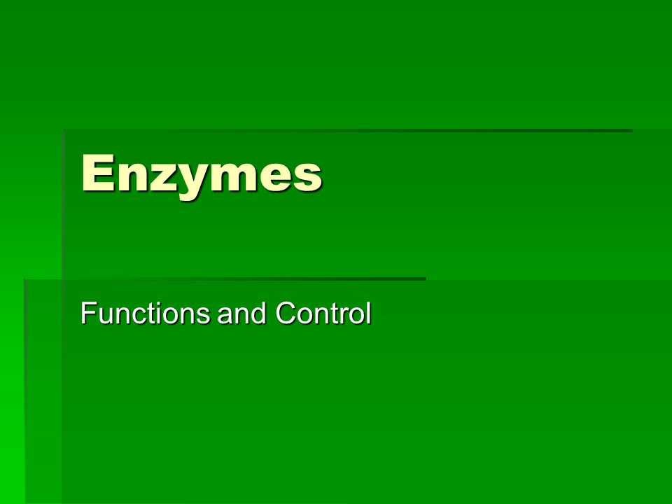 Enzymes Functions and Control