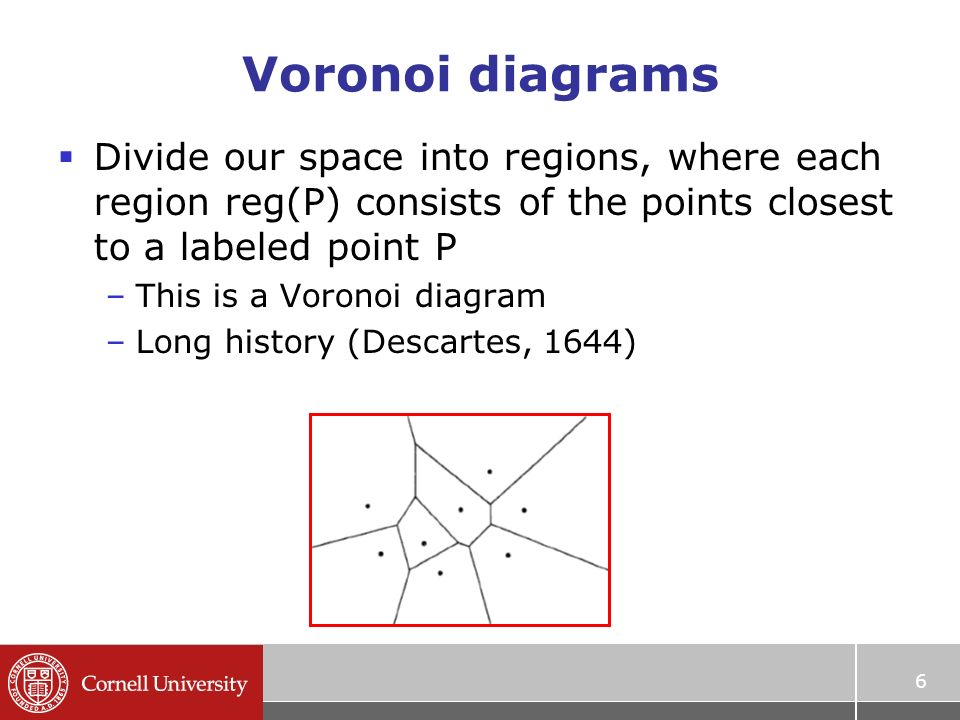 Voronoi diagrams and applications prof ramin zabih ppt download 6 6 voronoi diagrams divide our space into regions where each region regp consists of the points closest to a labeled point p this is a voronoi ccuart Choice Image