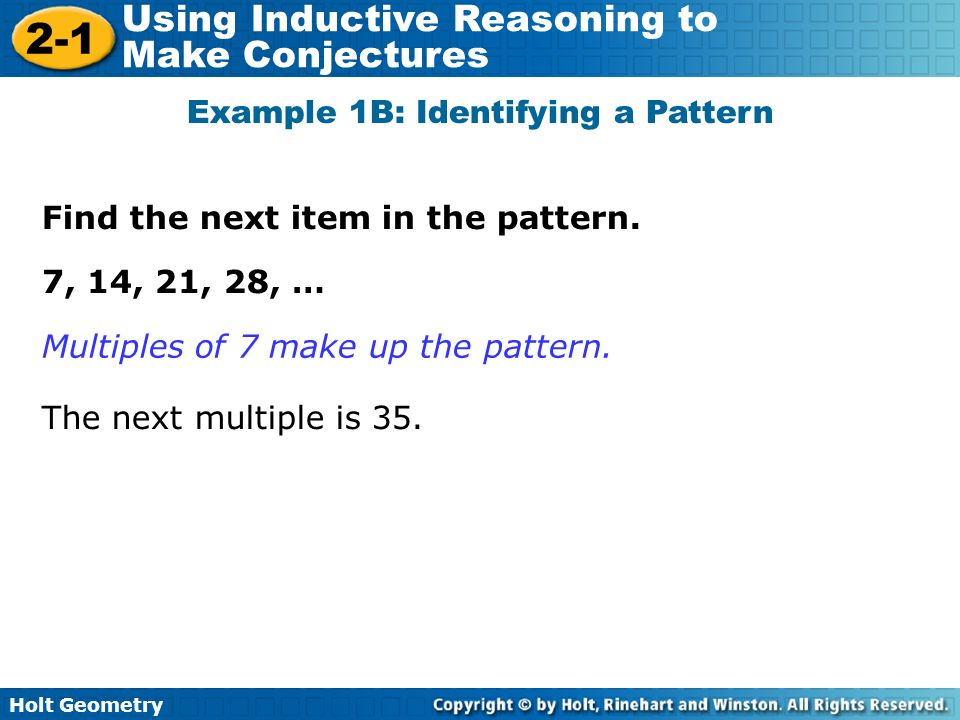 Holt Geometry 2 1 Using Inductive Reasoning To Make