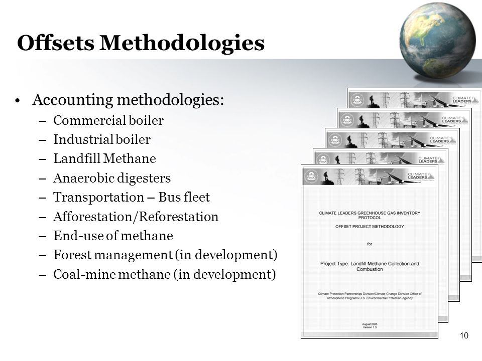 10 Offsets Method0logies Accounting methodologies: –Commercial boiler –Industrial boiler –Landfill Methane –Anaerobic digesters –Transportation – Bus fleet –Afforestation/Reforestation –End-use of methane –Forest management (in development) –Coal-mine methane (in development)