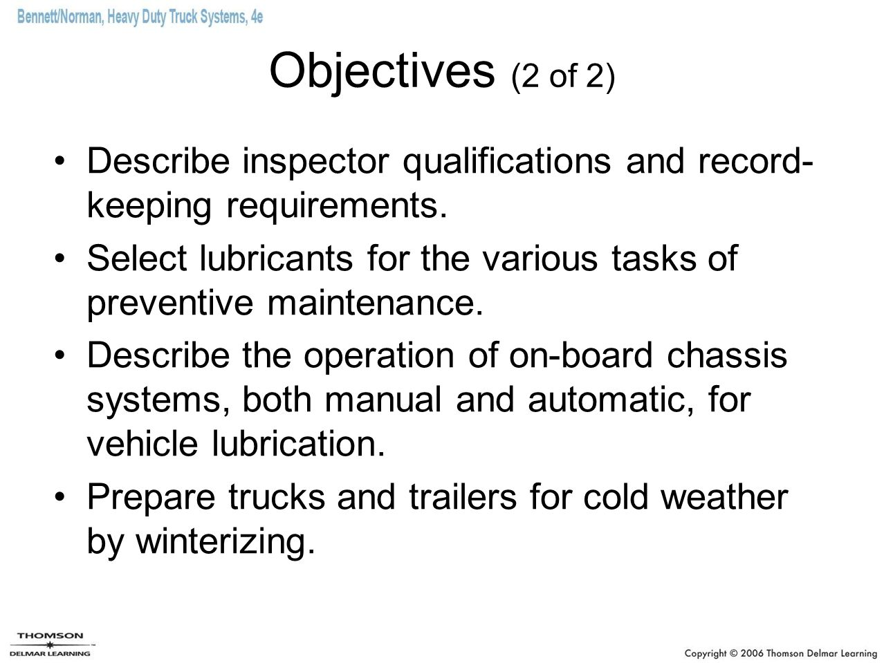 Chapter 4 Preventive Maintenance Program  Objectives (1 of 2
