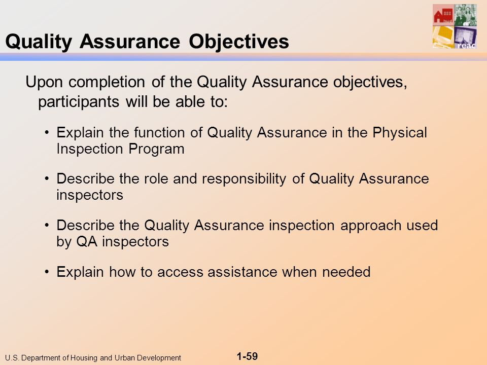57 us department of housing and urban development 1 59 quality assurance objectives