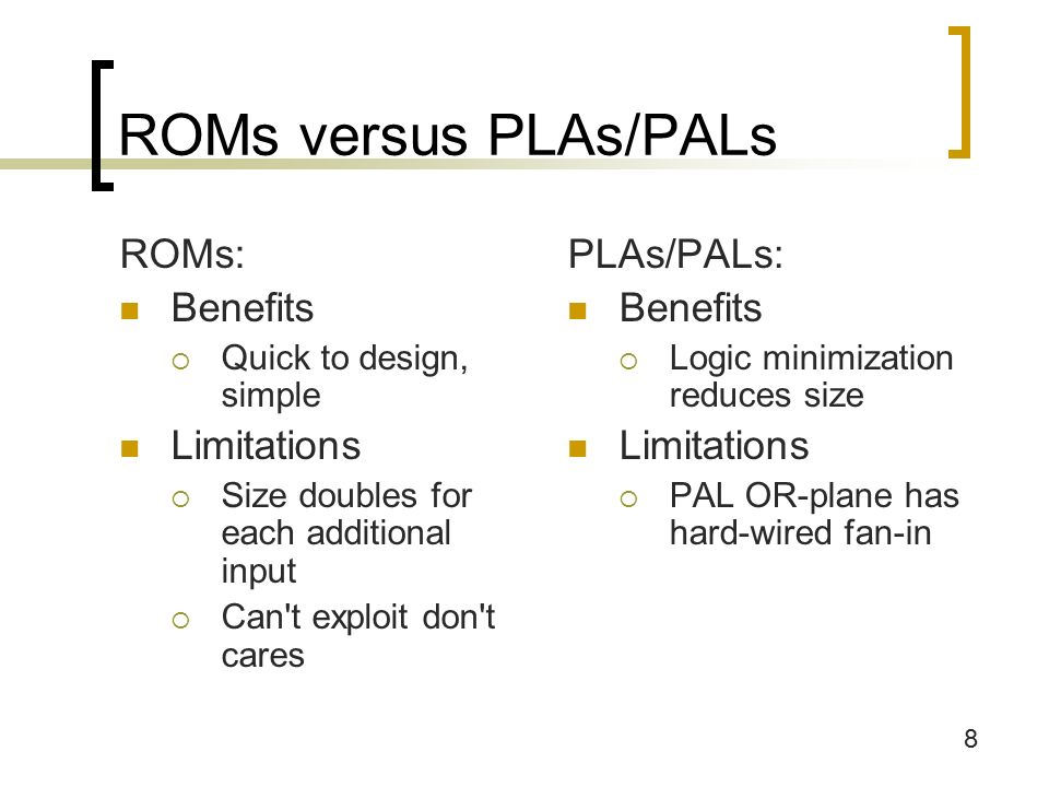 8 ROMs versus PLAs/PALs ROMs: Benefits  Quick to design, simple Limitations  Size doubles for each additional input  Can t exploit don t cares PLAs/PALs: Benefits  Logic minimization reduces size Limitations  PAL OR-plane has hard-wired fan-in
