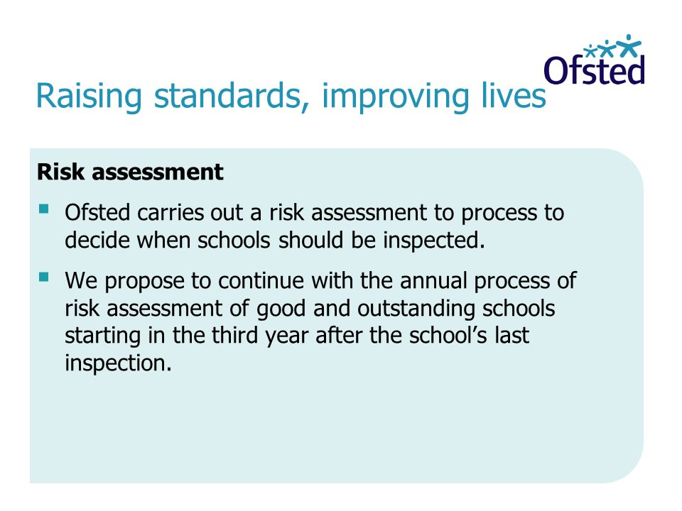 Raising standards, improving lives Risk assessment  Ofsted carries out a risk assessment to process to decide when schools should be inspected.