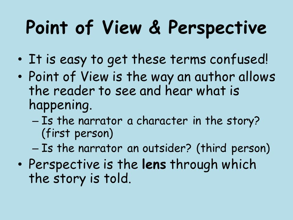 Point of View & Perspective It is easy to get these terms confused.