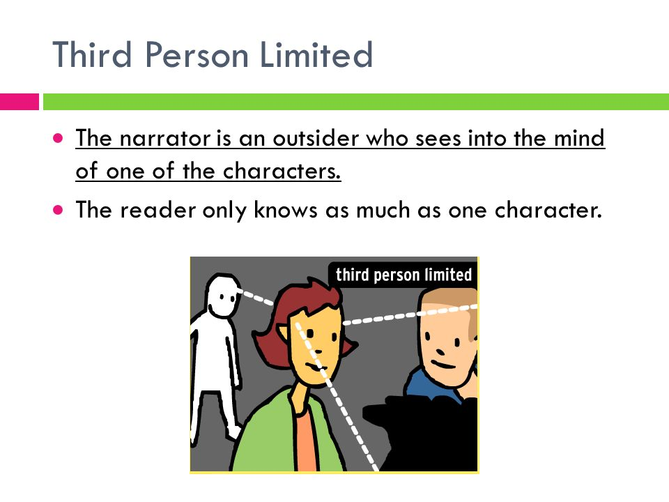 Third Person Limited  The narrator is an outsider who sees into the mind of one of the characters.
