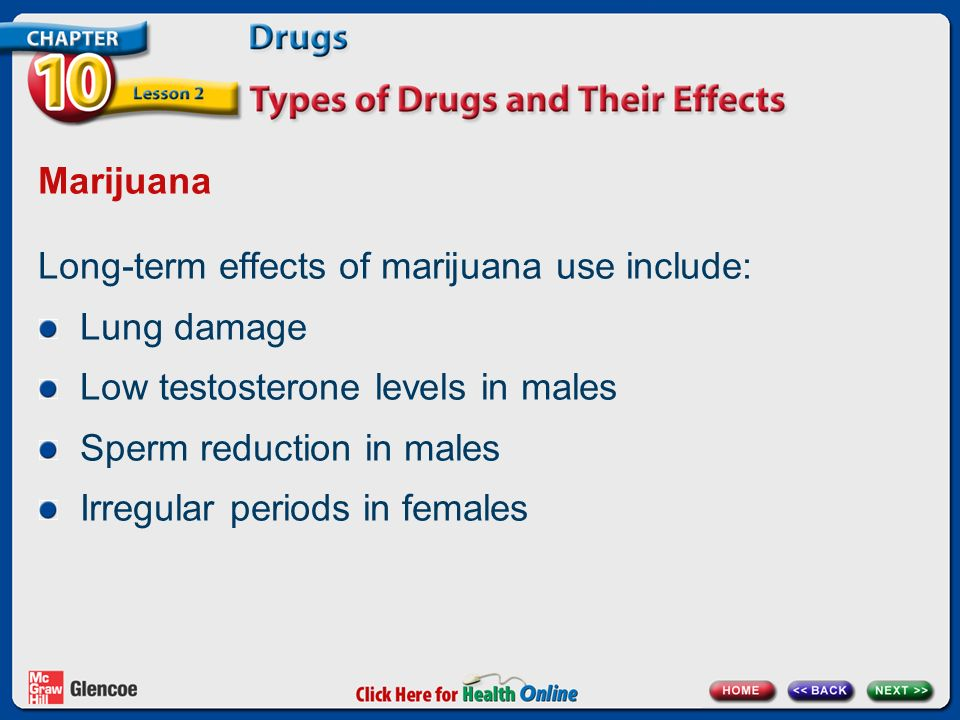 Marijuana Long-term effects of marijuana use include: Lung damage Low testosterone levels in males Sperm reduction in males Irregular periods in females