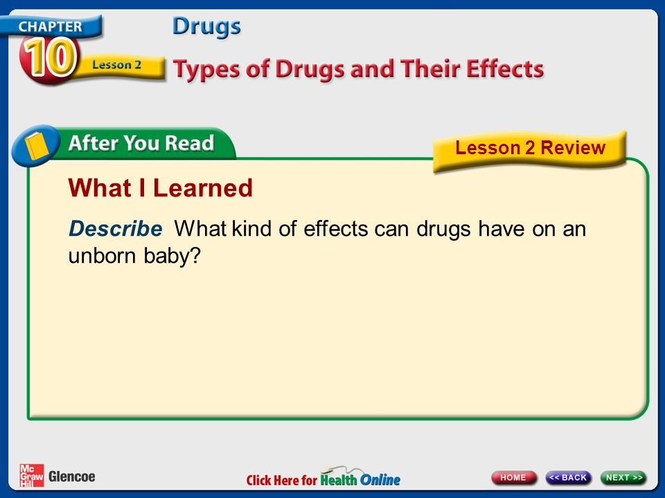 What I Learned Describe What kind of effects can drugs have on an unborn baby Lesson 2 Review