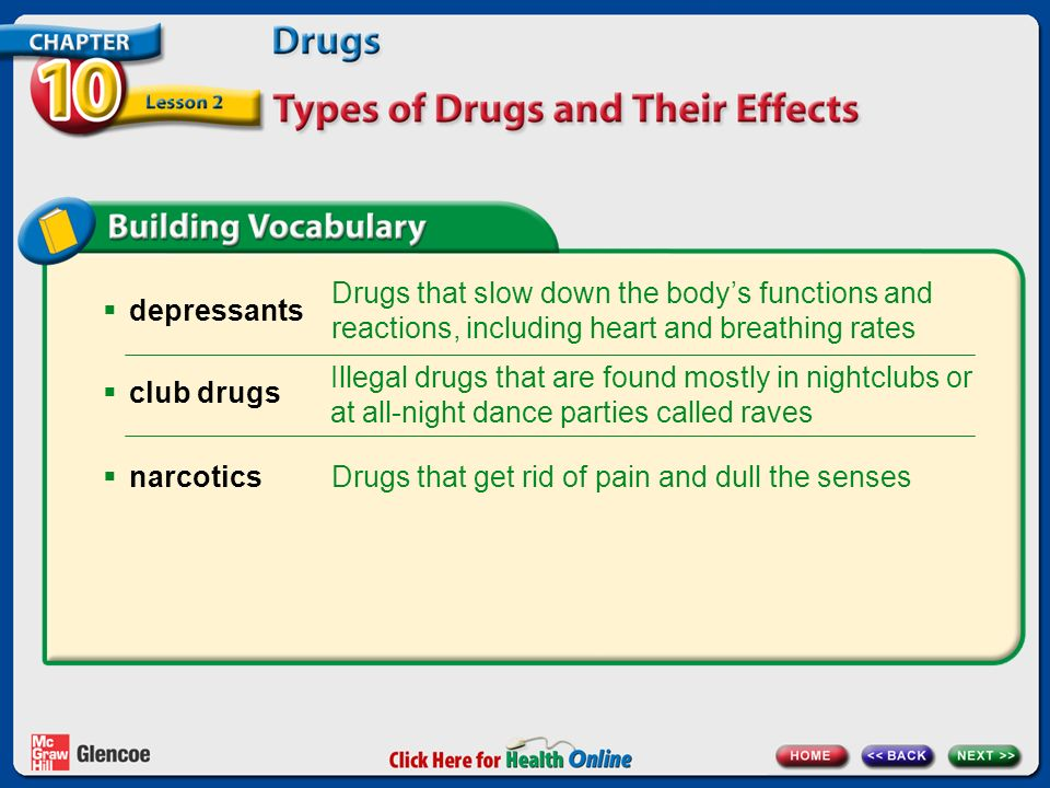  depressants Drugs that slow down the body's functions and reactions, including heart and breathing rates Illegal drugs that are found mostly in nightclubs or at all-night dance parties called raves Drugs that get rid of pain and dull the senses  club drugs  narcotics