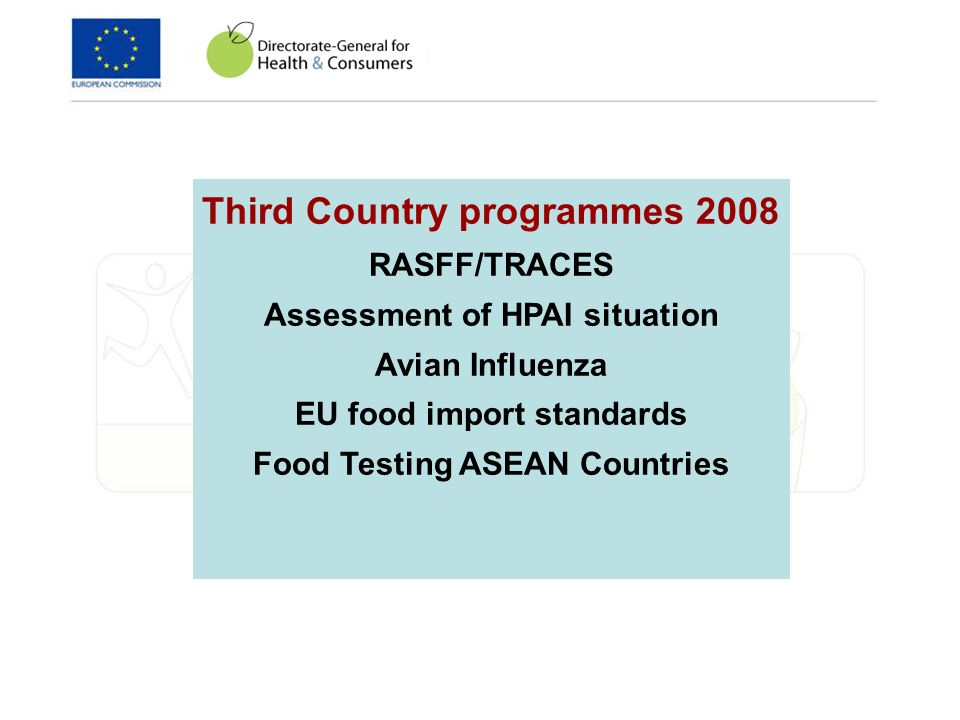 Third Country programmes 2008 RASFF/TRACES Assessment of HPAI situation Avian Influenza EU food import standards Food Testing ASEAN Countries