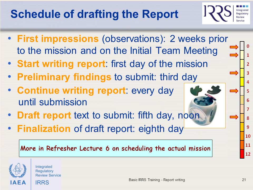 IAEA Schedule of drafting the Report First impressions (observations): 2 weeks prior to the mission and on the Initial Team Meeting Start writing report: first day of the mission Preliminary findings to submit: third day Continue writing report: every day until submission Draft report text to submit: fifth day, noon Finalization of draft report: eighth day Basic IRRS Training - Report writing21 More in Refresher Lecture 6 on scheduling the actual mission