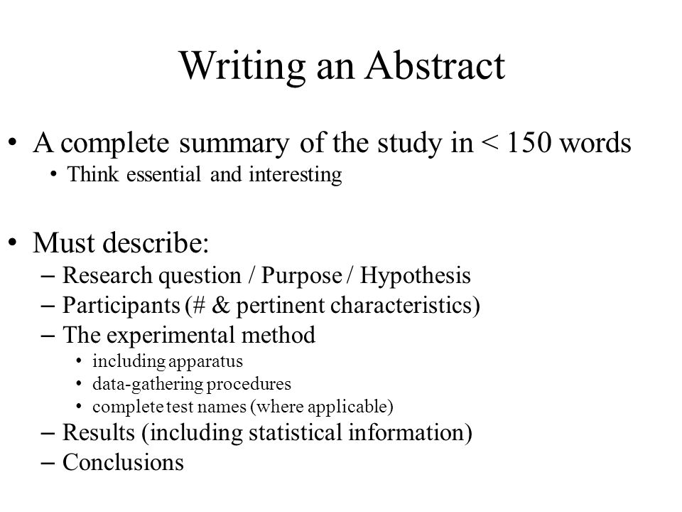 write abstract research paper apa format Apa papers usually include an abstract that concisely summarizes the paper apa papers use a specific headings structure to provide a clear hierarchy of information in apa papers, in-text citations usually include the name(s) of the author(s) and the year of publication.